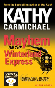 Mayhem on the Winterland Express a Skullduggery Inn mystery short story by Kathy Carmichael